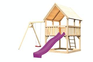 Akubi Kinderspielturm Luis mit Wellenrutsche und Einzelschaukelanbau
