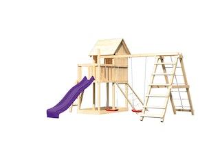 Akubi Stelzenhaus Frieda mit Wellenrutsche, Doppelschaukelanbau, Klettergerüst und Netzrampe