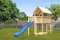 Akubi Kinderspielturm Danny mit Wellenrutsche und Anbauplattform