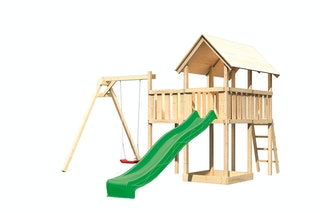 Akubi Kinderspielturm Danny mit Wellenrutsche, Einzelschaukelanbau und Anbauplattform
