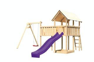 Akubi Kinderspielturm Danny mit Wellenrutsche, Einzelschaukelanbau und Anbauplattform XL