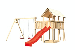 Akubi Kinderspielturm Danny mit Wellenrutsche, Doppelschaukelanbau und Anbauplattform
