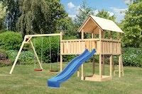 Akubi Kinderspielturm Danny mit Wellenrutsche, Doppelschaukelanbau und Anbauplattform XL