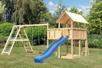 Akubi Kinderspielturm Danny mit Wellenrutsche, Doppelschaukelanbau, Klettergerüst und Anbauplattform