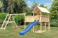 Akubi Kinderspielturm Danny mit Wellenrutsche, Doppelschaukelanbau, Klettergerüst und Anbauplattform XL