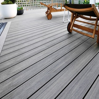HANDMUSTER FUN-Deck Ultrashield® WPC-Terrassendiele Multigrey dark