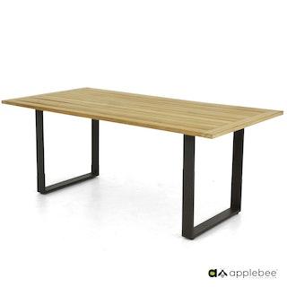 apple bee Esstisch CONDOR Gestell Aluminium schwarz / Tischplatte Teak