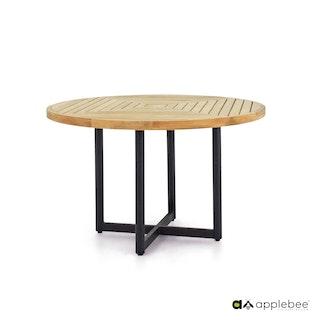 apple bee Esstisch Ø 120 cm JAKARTA Gestell Aluminium schwarz-Tischplatte Teak Natural