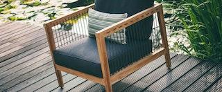 apple bee Lounge Sessel 72 LA CROIX Teak Natural/Rope Schwarz/BEE WETT Schwarz