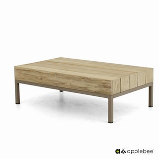 apple bee Loungetisch LONG ISLAND COASTAL Teak coastal/Gestell Aluminium Taupe/BEE WETT Natural Oak