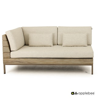 apple bee Lounge Sofa rechts 161 LONG ISLAND COASTAL Teak costal/Gestell Aluminium Taupe/BEE WETT Natural Oak