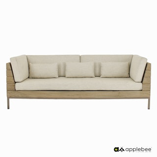 apple bee Lounge Sofa 219 LONG ISLAND COASTAL Teak coastal/Gestell Aluminium Taupe/BEE WETT Natural Oak