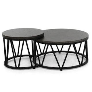 apple bee Kaffetisch MENTON 2er Set - Gestell aluminium schwarz- Tischplatte Leichtbeton LAVA