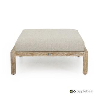 apple bee Fußhocker OLIVE lounge 90 x 90cm - Gestell Teak White Wash, Kissen BEE WETT® Natural Oak