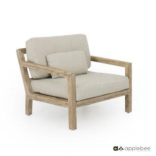 apple bee Loungesessel 90 OLIVE  lounge -Gestell Teak White Wash, Kissen BEE WETT® Natural Oak (inkl. 1 Kissen)