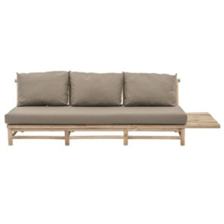 apple bee Loungesofa (links) TWIGGY 244 aus Teak mit Bezug in Taupe - 3-Sitzer