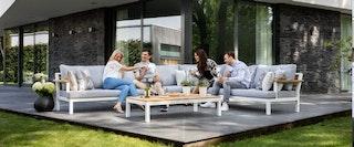 apple bee Lounge-Tisch DREAMER 130 x 70 Gestell Aluminium weiß / FSC 100% Teak