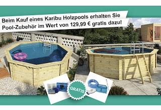Karibu 8-teiliges Pool Zubehörpaket bestehend aus bestehend aus: Chlortabletten, PH-Minus, Wasserteststreifen, Dosierschwimmer, Bodenkescher, Boden Saugschlauch, Boden Saugbürste, Teleskop Bodensaugstange
