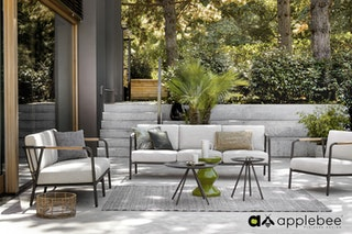 apple bee Loungesessel 70 ELLE lounge - Gestell Aluminium schwarz- Kissen BEE WETT Natural Oak