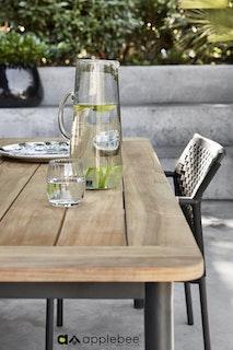 apple bee Esstisch ELLE Gestell Aluminium schwarz Tischplatte Teak Natural 180 x 95 cm