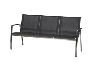 Diamond Garden 3-Sitzer Bank ANCONA Edelstahl / Kunststoffgewebe anthrazit