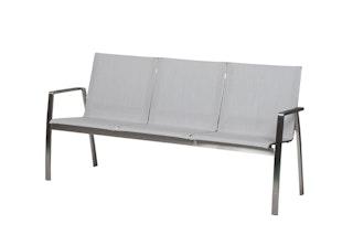 Diamond Garden 3-Sitzer Bank ANCONA Edelstahl / Kunststoffgewebe hellgrau