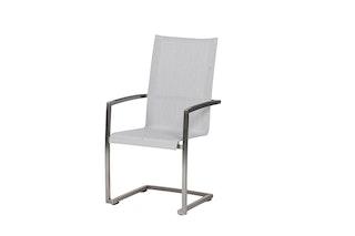 Diamond Garden Swingstuhl ANCONA mit hoher Rückenlehne Edelstahl / Kunststoffgewebe hellgrau