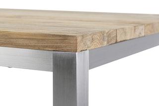 Diamond Garden Tisch BARLETTA 90 × 90 cm Edelstahl / Recycled Teak