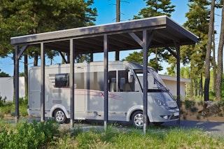 Skan Holz Caravan-Carport Friesland 397x708 cm mit erhöhter Einfahrt