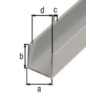 GAH U-Profil, Alu 1 m-16 x 13 mm-1,5 mm