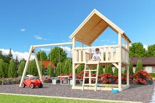 Akubi Kinderspielturm Luis mit Doppelschaukelanbau