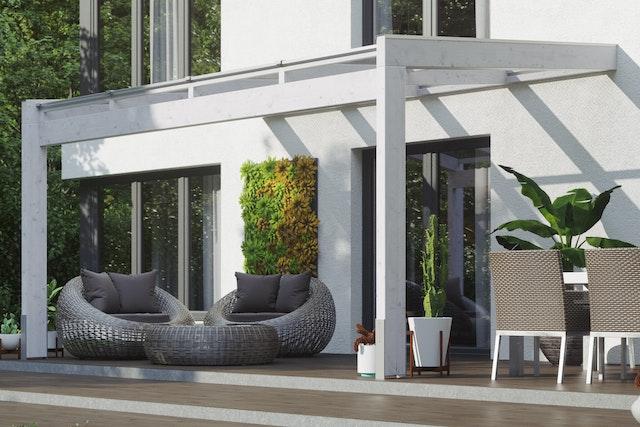 Skan Holz Terrassenüberdachung Novara Breite 557 cm