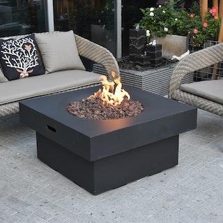 Gardenforma Gas Feuerstelle Branford aus Faserbeton in Betonoptik, schwarz