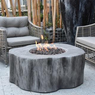 Gardenforma Gas Feuerstelle Manchester aus Faserbeton in Baumstammoptik, hellgrau