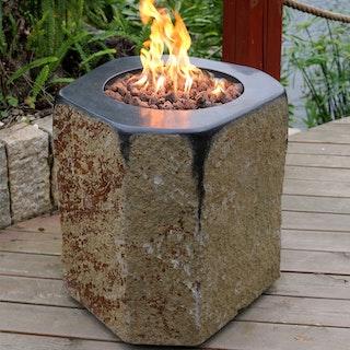 Gardenforma Gas Feuerstelle Derby aus Basalt Naturstein schwarz/braun