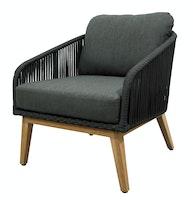 Diamond Garden Loungesessel PALMA Premium Teak / Alu / Rope / Sunproof® (100 % Polypropylen)