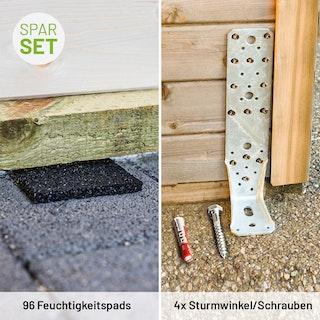 Gartenhaus-Zubehörset mit 96 Feuchtigkeitspads und 4 Sturmwinkeln inkl. Befestigungsmaterial