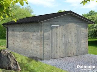 Palmako Garage Tomas 19,2 m² inkl. Metalldach - 34 mm - mit Holztor