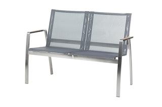 Diamond Garden 2-Sitzer Bank ANCONA Edelstahl / Kunststoffgewebe hellgrau