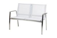 Diamond Garden 2-Sitzer Bank VENEDIG Edelstahl / Kunststoffgewebe silber / weiß