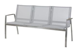 Diamond Garden 3-Sitzer Bank VENEDIG Edelstahl / Kunststoffgewebe silber / weiß