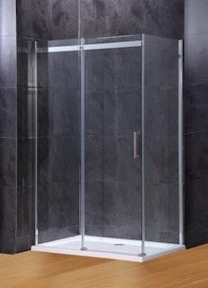 Duschkabine Schiebetüre XST ESG 8 mm inkl. Duschwanne und Ablauf