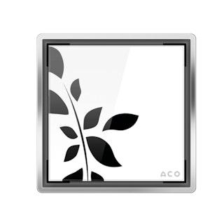 ACO E-point Design-Abdeckung Glas weiß mit Motiv