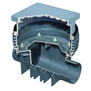 ACO Triplex-K-0 - Einfachrückstauverschluss mit Schachtsystem