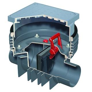 ACO Triplex-K-1 - Einfachrückstauverschluss mit Schachtsystem