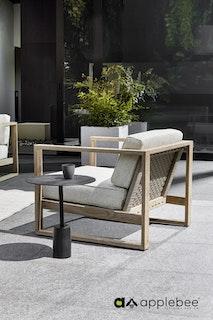 apple bee Loungesessel 70 ANTIGUA lounge - Gestell Teak coastal - Bezug BEE WETT Natural Oak