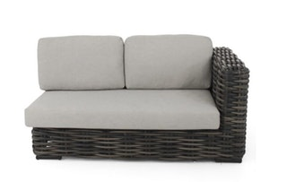 apple bee Lounge Sofa links 160 ELEMENTS XL Geflecht Black wash-BEE WETT Pebble Grey