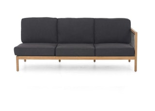 apple bee Lounge Sofa links 199 LA CROIX Teak Natural/Rope Schwarz/BEE WETT Schwarz