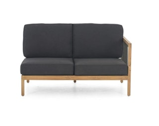 apple bee Lounge Sofa links 134 LA CROIX Teak Natural/Rope Schwarz/BEE WETT Schwarz