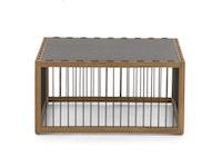 apple bee Loungetisch LA CROIX Teak Natural Rope/Schwarz Tischplatte/ Beton 70 x 70 cm
